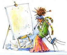 Girl Draws, Sketch, Illustration