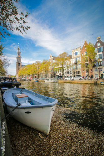 Photo  Canal boat in Amsterdam, Netherlands