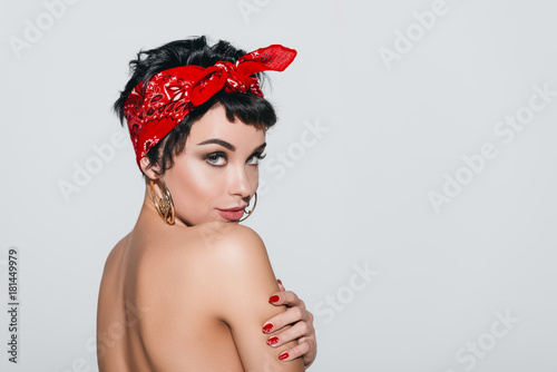 beautiful naked girl in earrings Canvas Print
