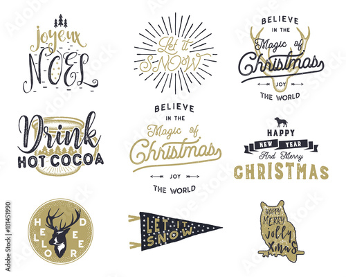 Big Merry Christmas typography quotes, wishes bundle. Sunbursts ...