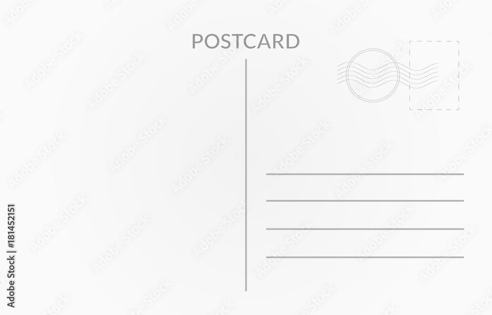 Fototapeta Travel card design. Vector white postcard illustration