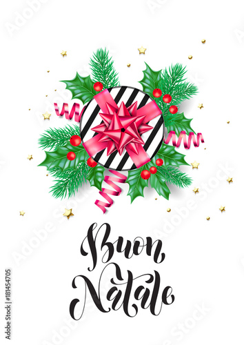 Merry Christmas In Italian.Merry Christmas Italian Buon Natale Holiday Hand Drawn Quote