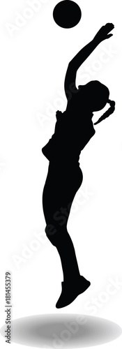 volleyball woman player silhouette Canvas Print