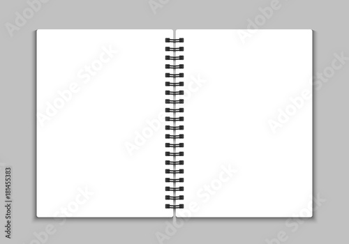 Fotografiet Blank open notebook. Vector illustration