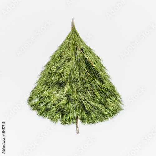 Christmas Tree Top View.Christmas Tree Made With Cedar Branches On White Background