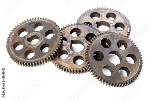 Photo  Old Rusty Gears isolated on white