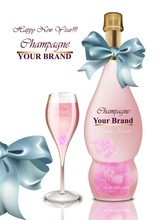 Happy New Year Card. Pink Cham...