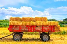 Hay Wagon With Hay Bales On Wh...