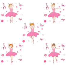 Cute Ballerina Girl In Differe...