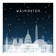 Winter Night In Washington. Night City In Flat Style For Banner, Poster, Illustration, Game, Background.