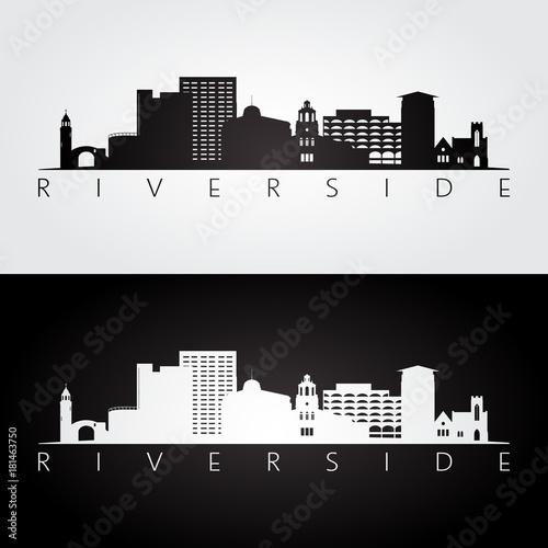 Carta da parati Riverside usa skyline and landmarks silhouette, black and white design, vector illustration