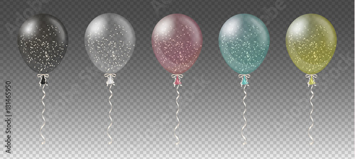 Obraz Celebration background template with colorful balloons, confetti and ribbons on transparent background. Vector illustration. - fototapety do salonu