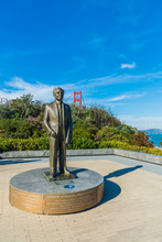 Statue Of Joseph Strauss Who Is Chief Engineer For Golden Gate Bridge In Legacy Circle San Francisco USA