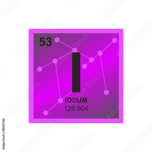 Vector Symbol Of Iodine From The Periodic Table Of The Elements On