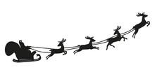 Santa Claus Flying With Deer. ...