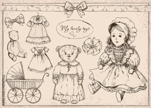 Hand drawn vector set My lovely toys in vintage style Wallpaper Mural