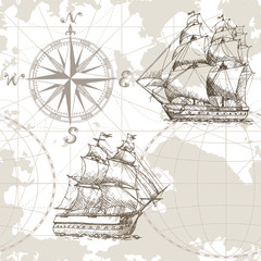 Fototapeta Marynistyczny Hand drawn vector seamless sea map with compass and sailing ship. Perfect for textiles, wallpaper and prints.