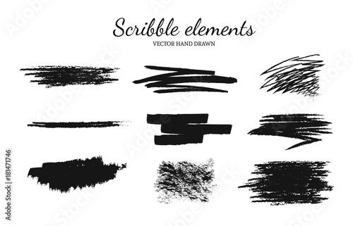 Fotografía  Set of vector scribble, smears elements for logo design