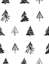 Hand Drawn Vector Merry Christmas Rough Freehand Graphic Design Elements Seamless Pattern With Ink Scandinavian Christmas Trees And Branches Isolated On White Background