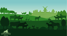 Vector Rural Landscape With Fa...