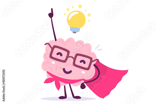Fototapeta Vector illustration of pink color human brain with glasses as a super hero and light bulb on white background. Inspiration cartoon brain concept. obraz
