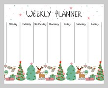Cute Christmas And Holiday Weekly Planner With Christmas Elements.