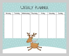 Cute Christmas And Holiday Weekly Planner With Deer.