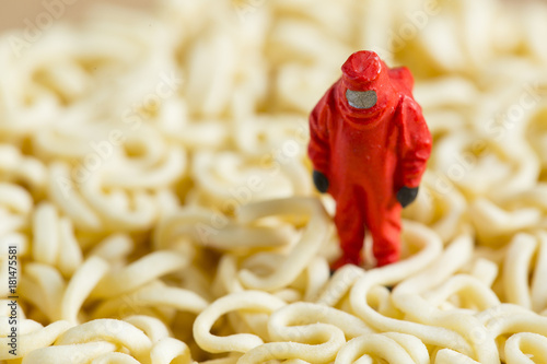 Dangerous food scientist with red protect suit