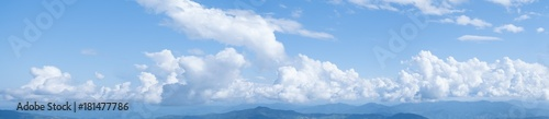 Panorama shot, Beautiful white clouds on blue sky. View from high mountain at Doi Pha Tung, Chiangrai, Thailand, Lao. - 181477786