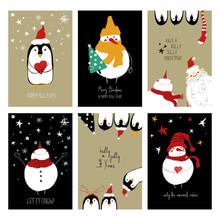 Set Of Retro Funny Christmas C...