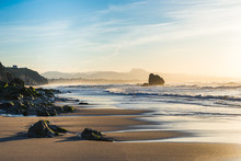 Sunset Time On A Beach In Biarritz, Basque Country Of France