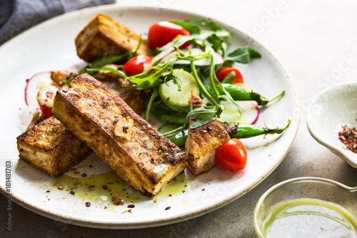 Tofu steak with Snow Peas and Rocket Salad