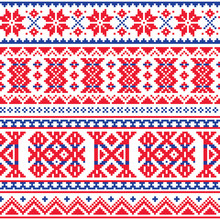 Lapland, Sami People Vector Seamless Pattern, Scandinavian, Nordic Folk Art In Red And Blue
