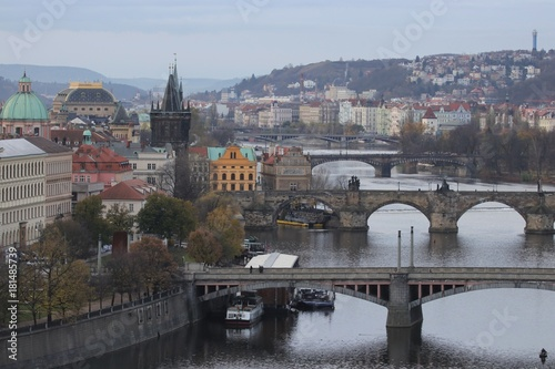 Garden Poster Napels panoramic view to the historical bridges, Prague old town and Vltava river