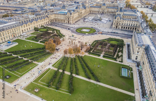 Obraz na plátně  Aerial view of Louvre museum, Paris, France