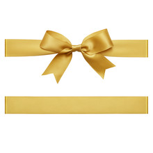 Gold Bow Tied Using Silk Ribbon, Cut Out Top View