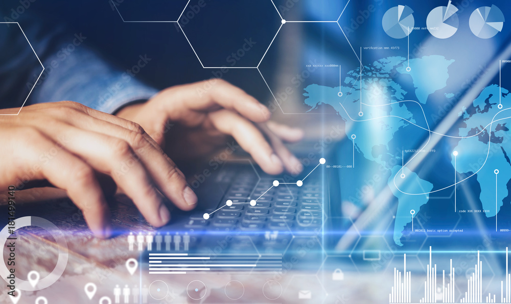 Fototapety, obrazy: Concept of virtual diagram,graph interfaces,digital display,connections,statistics icons.Male hands typing on dock keyboard contemporary electronic tablet.Blurred background. Horizontal.
