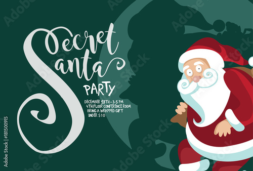 Secret Santa background template. Cartoon Santa Claus caught red ...