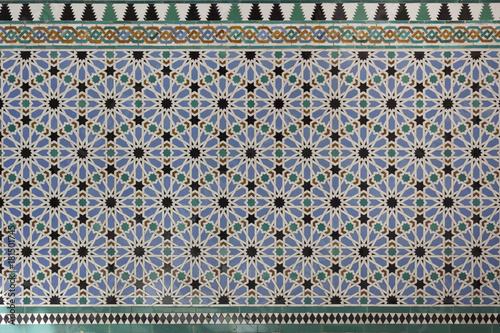 Fotografiet Moorish Islamic geometric patterns inside palace
