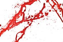 Blood Splatter, Red Acrylic Paint Splash Background Texture Grunge. Blood Splash, Spray. Abstract Acrylic Hand Painted Splash. Murder And Killing. Close Up.