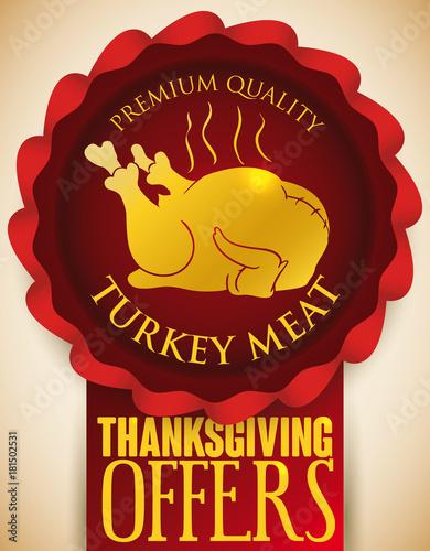 Fényképezés  Ribbon Promoting Premium Quality Turkey Meat for Thanksgiving, Vector Illustrati