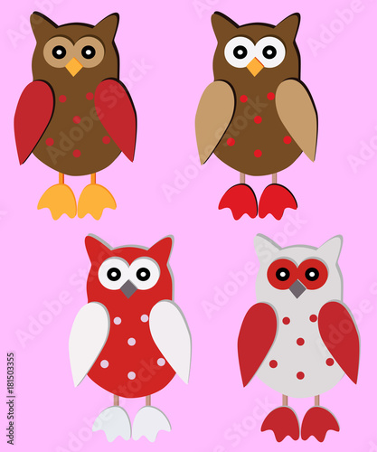 Wall Murals Birds, bees Four wooden owl-pendants in red, brown, white colors