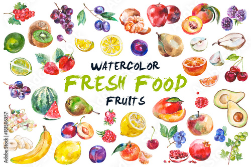 Watercolor fruits isolated on white