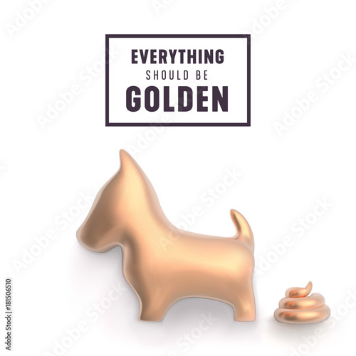 gold dog and poop for funny new year greetings vector illustration
