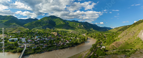 panoramic view from the fortress to the valley, Atskuri Fortress Ruins, Georgia Canvas-taulu