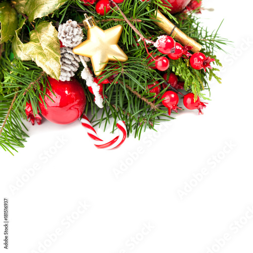 Christmas Border On White Background New Year Or Christmas