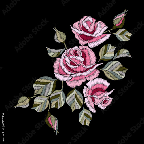 Fototapety, obrazy: Roses embroidery, bouquet of flowers and leaves. Element for design. Satin stitch imitation, vector.