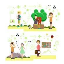 Vector Set Of Tourist People, ...