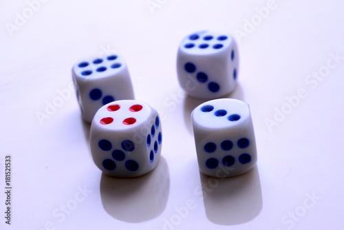 plastic dices close up плакат