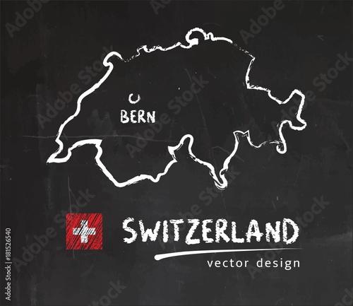 Obraz na płótnie Switzerland map, vector drawing on blackboard